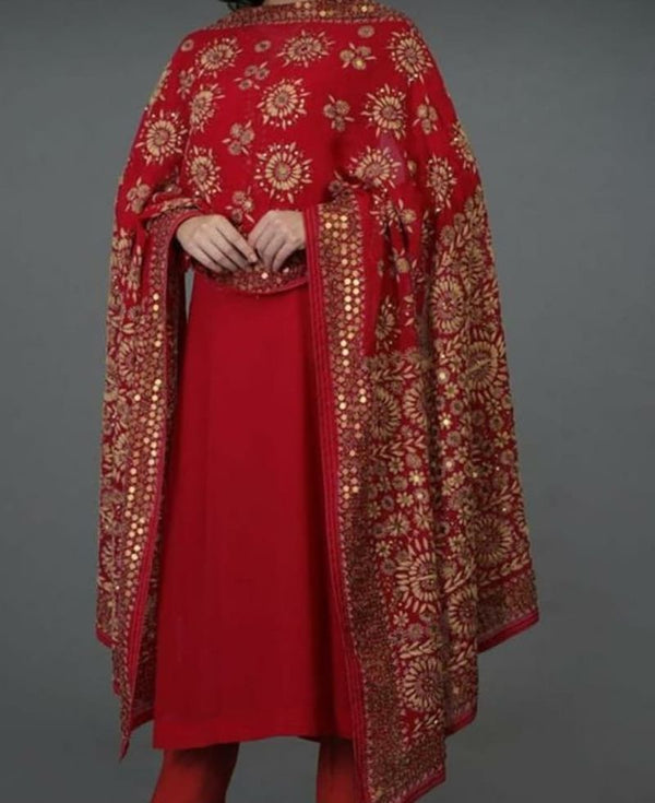 Red Rayon Straight Kurti & Pants with Printed Dupatta
