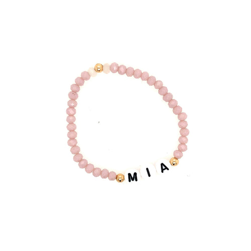 Pink Crystal & Gold Name Bracelet
