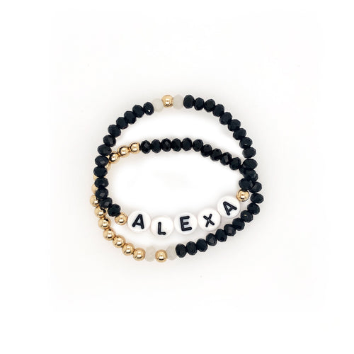 Crystal and Gold Name Bracelets - Set of 2