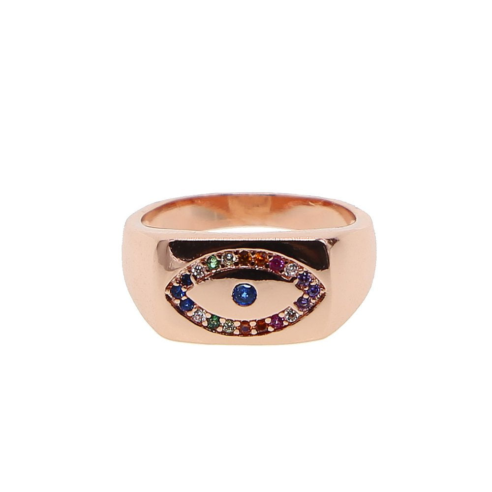 Rainbow Eye Signet Ring