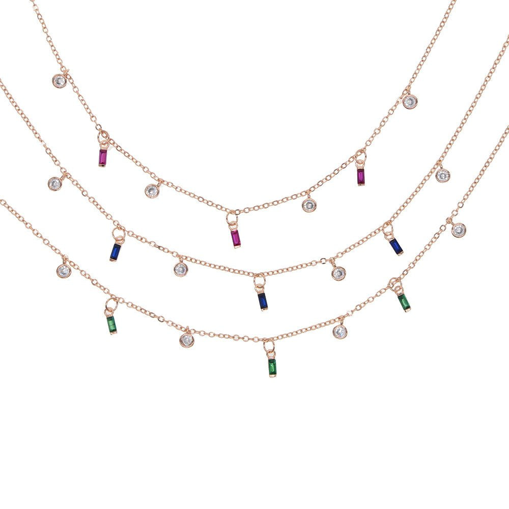 Colored Baguette Shaker Necklace