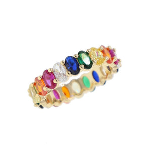 Rainbow Oval Eternity Band