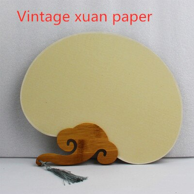 Eventail traditionnel chinois fabrication artisanale a la main en papier de riz Xuan vintage - couleur