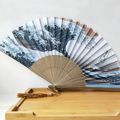 Eventail japonais décoration estampe japonaise La Grande Vague de Kanagawa