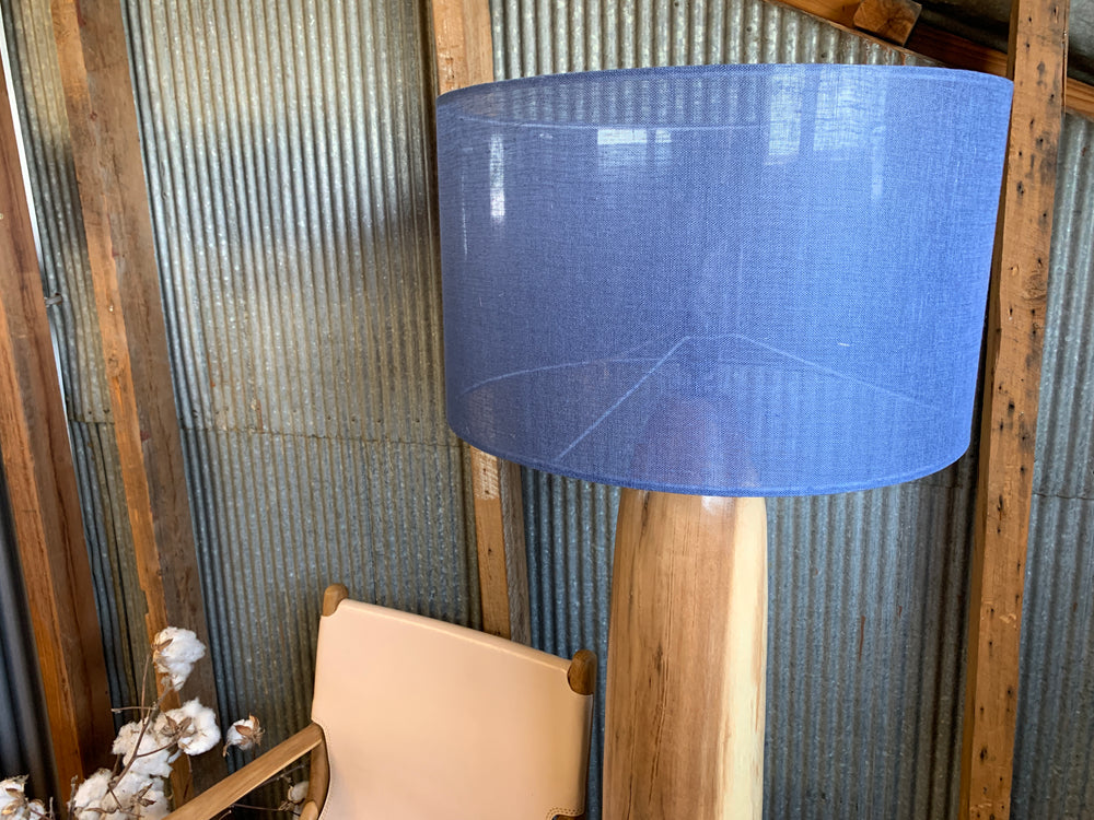 Albizia Wooden Floor Lamp (Natural/Blue Shade)