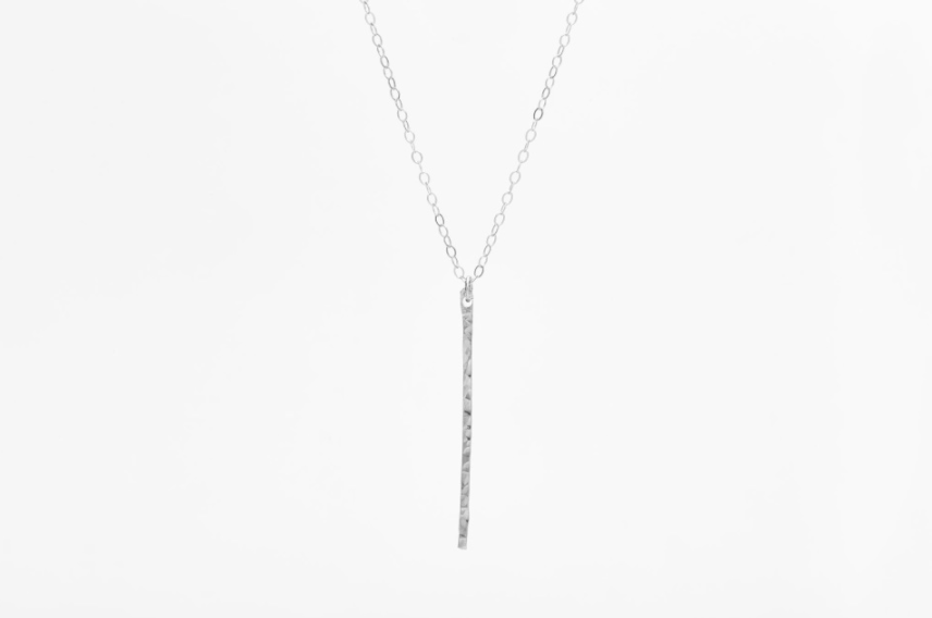 Vertical Hammered Bar Necklace