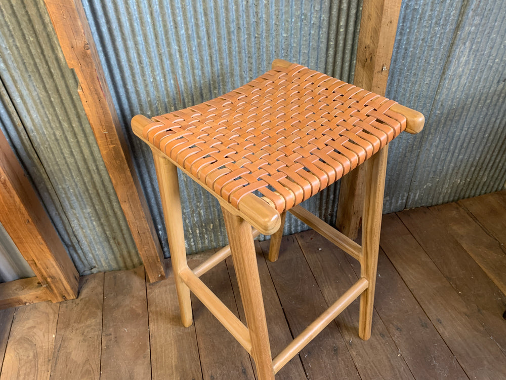 Hattie Leather and Teak bar stool