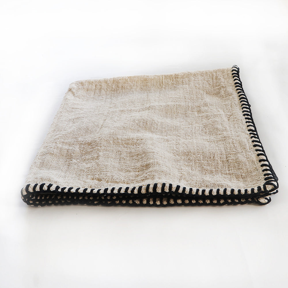 Natural raw cotton throw