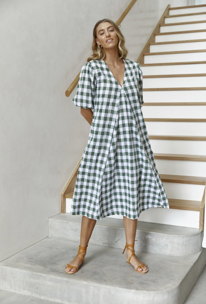 LJC Designs Charlotte Dress (Khaki Check)