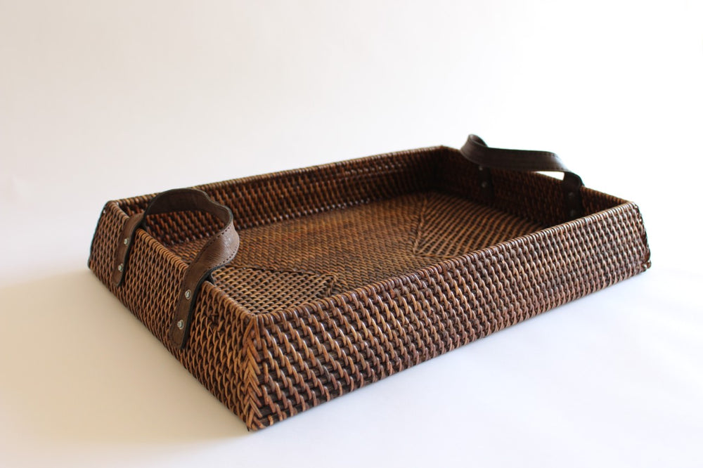 Rattan Trapezium Tray with leather handles