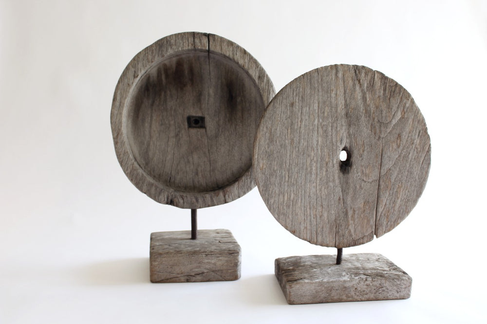 Reclaimed Wooden Disc on stand