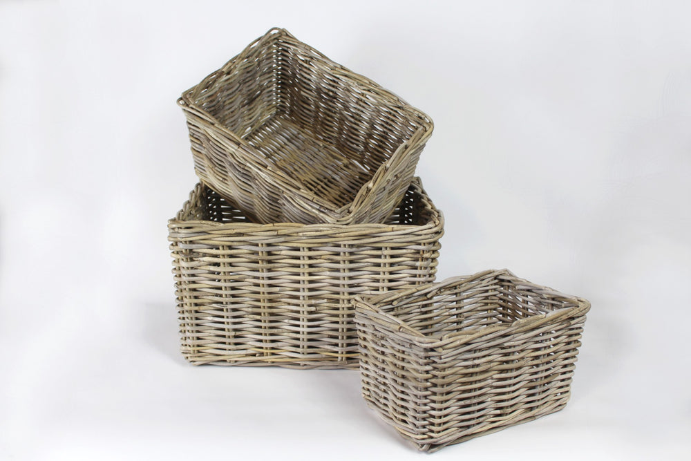 Teddy Antique Grey Rattan Basket