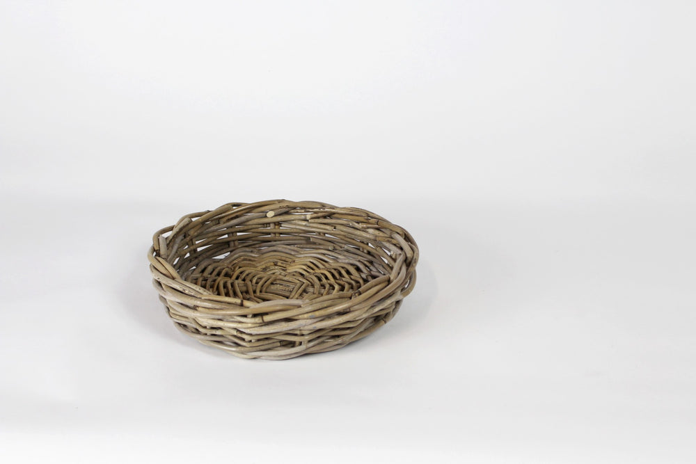 Round Shallow Antique Grey Rattan Basket