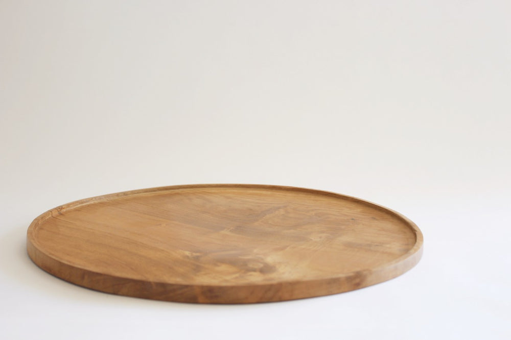 Shallow wooden platter bowl (40cm)