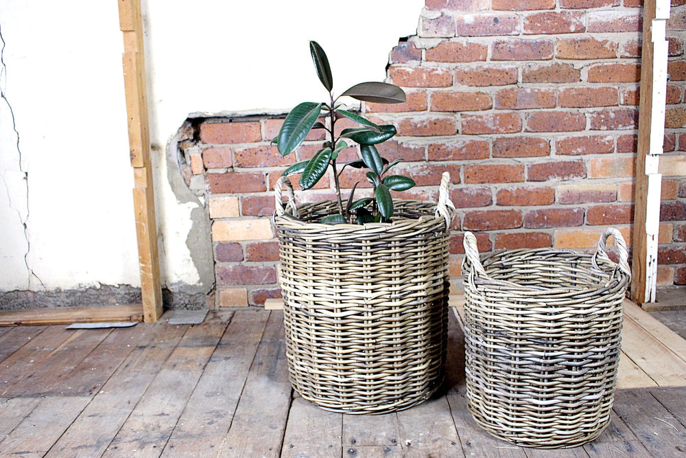 Round Antique Rattan Basket