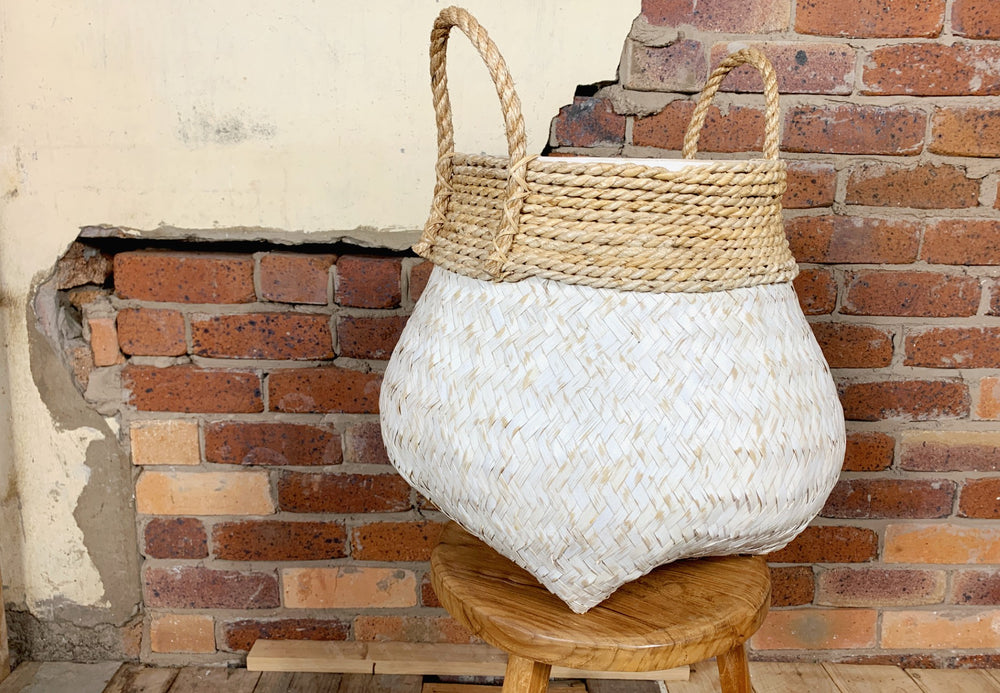Bahama Bamboo and White Basket