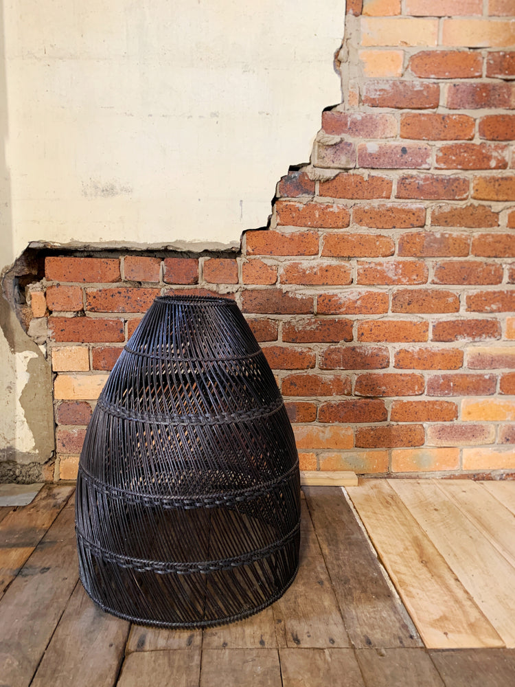 Harvey black wicker light pendant