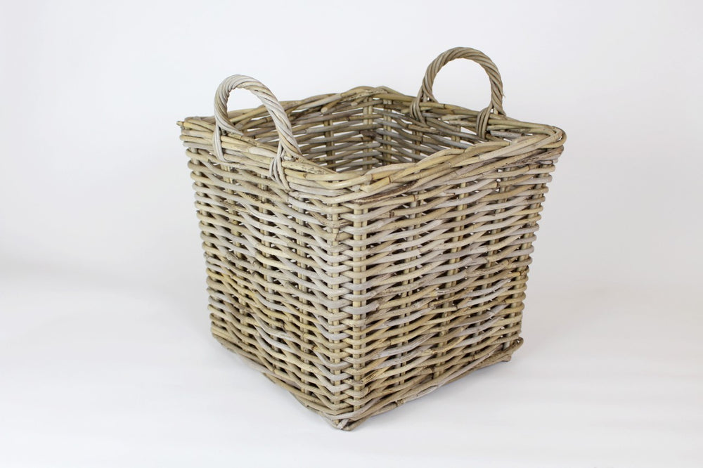 Katie Antique Grey Rattan Basket