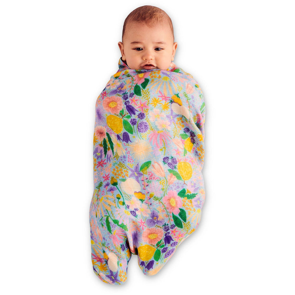 Kip & Co Meadow Blue Bamboo Swaddle