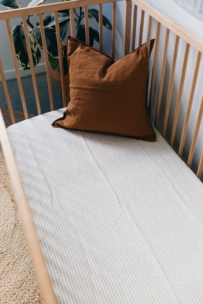 Linen Social Striped Linen Cot Sheet