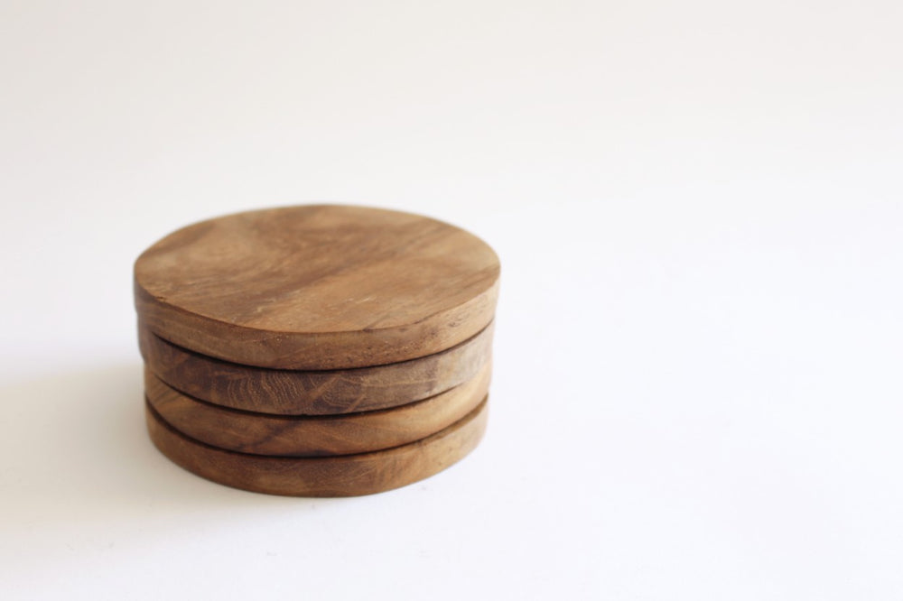 Teak wood coasters (set of 4)