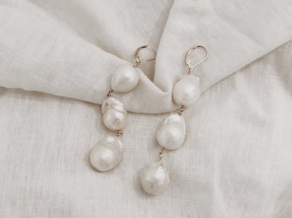Trio Dangling Pearl Earrings