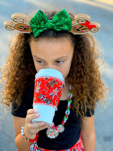 Drink Sleeve, Gingerbread Mouse Red