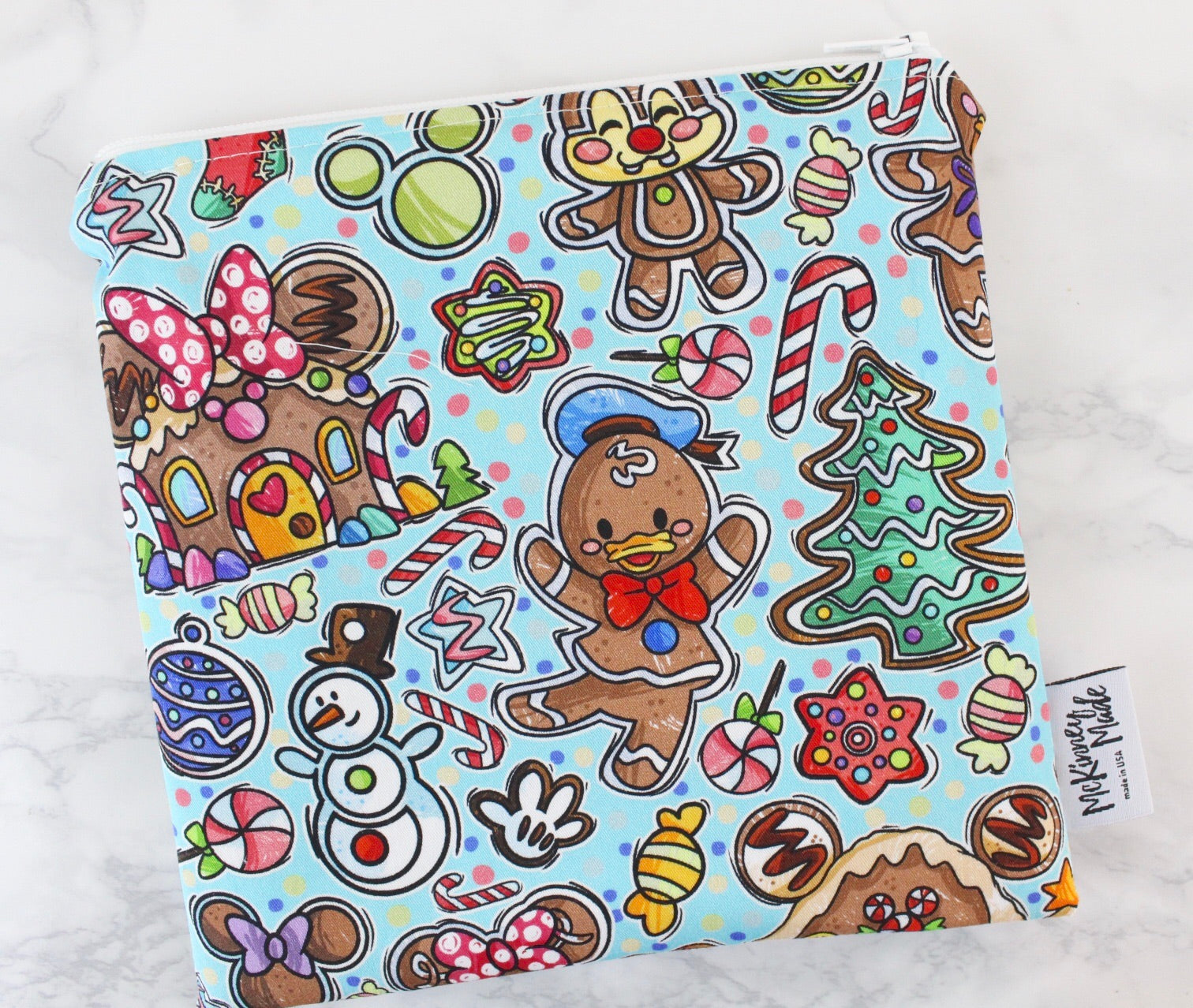 Blue Gingerbread Mouse, Reusable Snack Bags