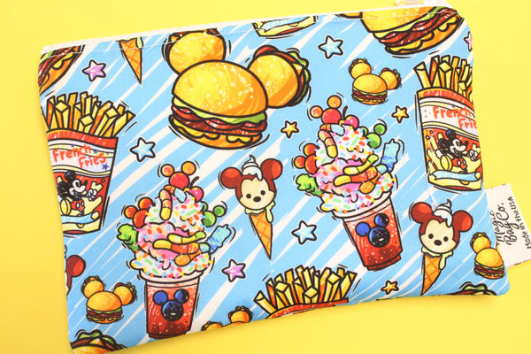 Burgers and Fries Blue, Reusable Snack Bags