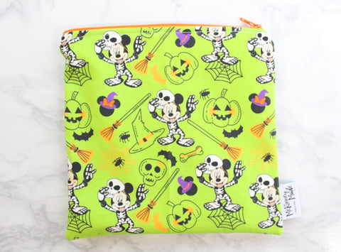 Halloween Mouse Green, Reusable Snack Bags