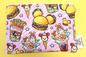 Burgers and Fries Pink, Reusable Snack Bags