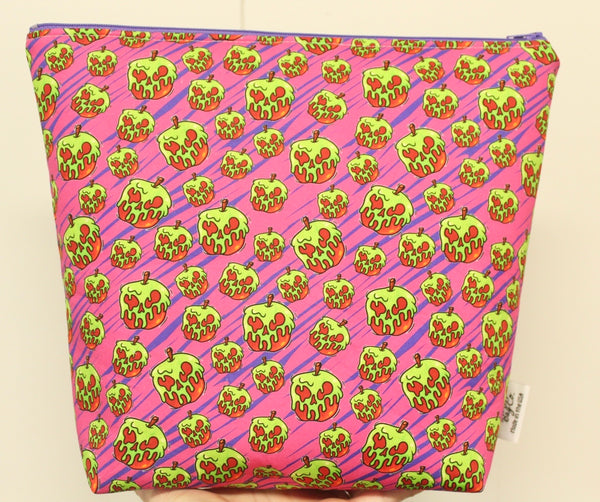 Poison Apples Pink, Large Makeup Bag or Ear Bag