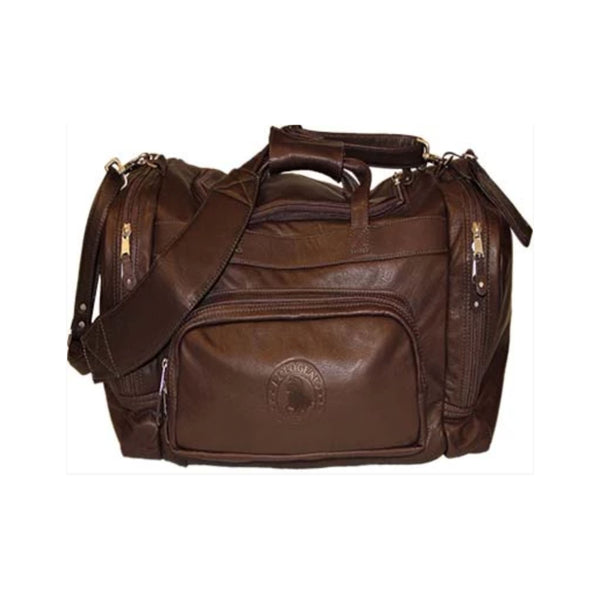 The PoloGear Sundance Duffel Bag, an authentic approach to the classic duffel bag. Features the PoloGear emblem on the front, a leather removable padded strap and a snap-close grab handle, as well as many front and side pockets that make necessities easy to access.