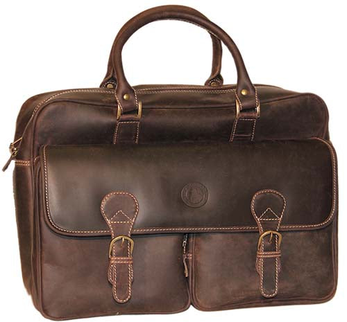 Front view of the beautiful brown leather briefcase with the PoloGear emblem on the front.