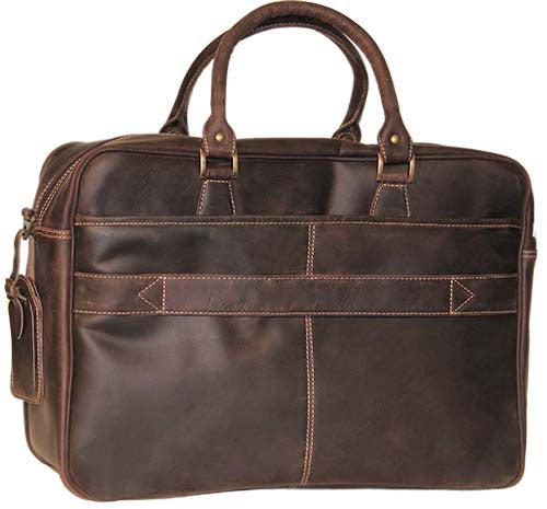 Back view of the Fort Laramie leather computer briefcase, featuring a large back pocket.