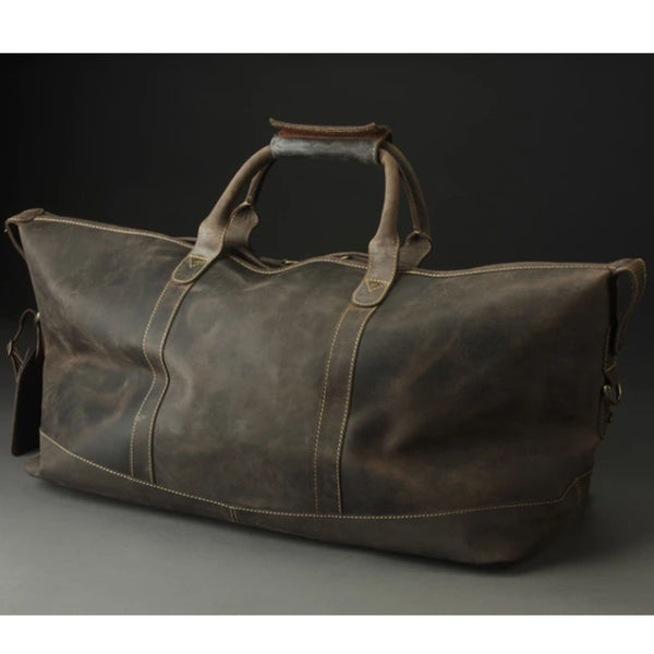 The back view of the Buffalo Leather Duffel Bag, which is smooth and beautiful.