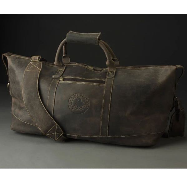 The Buffalo Leather Duffel Bag has the PoloGear emblem on the front and features durable handles and an ergonomic shoulder strap.