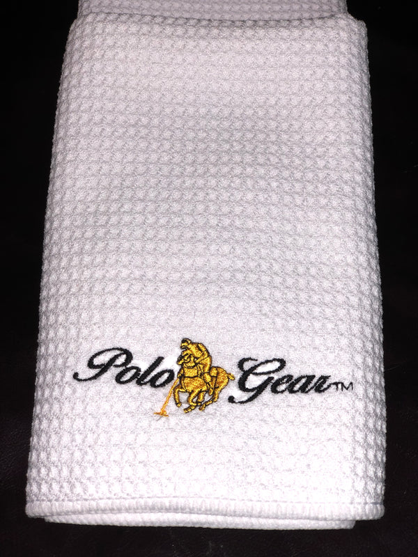 High-quality white hand towel, embroidered with the classic PoloGear logo.