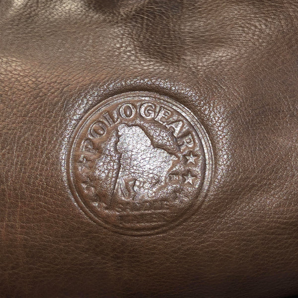 Close up view of the PoloGear emblem on the front of the bag.