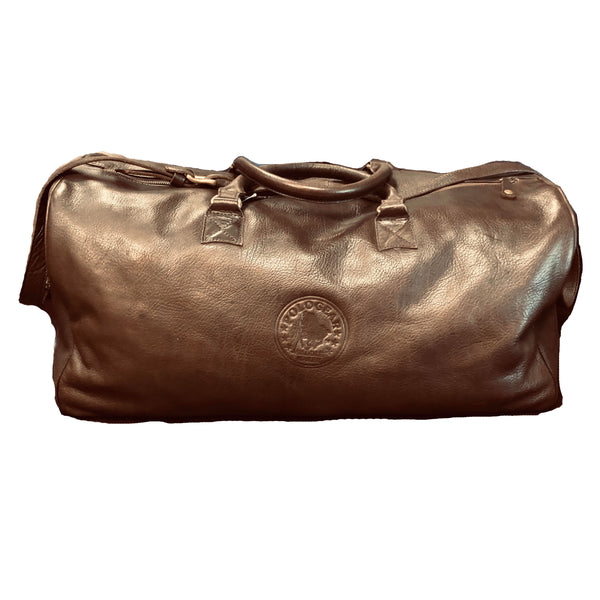 Front view of this beautiful brown leather bag with the PoloGear emblem on the front.