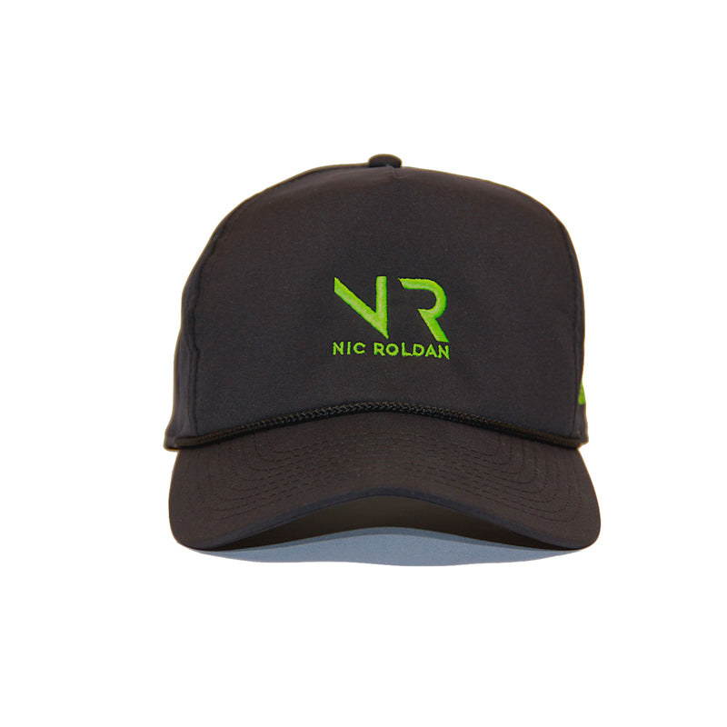"Black baseball cap with green initials ""NR"" standing for Nick Roldan"