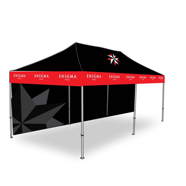 Black and red tent with a black back wall and open front.
