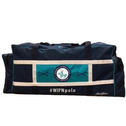 Front view of WIPN duffel bag. Deep blue duffel bag with light blue lining.