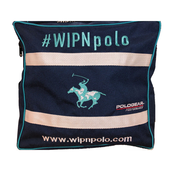Left side view of WIPN duffel bag with the WIPN logo, a woman riding a horse holding a polo mallet, in the middle.
