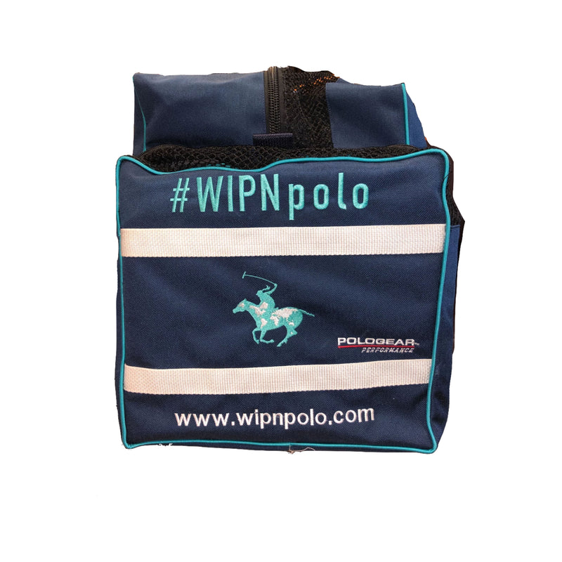 Right side view of the WIPN duffel bag with the same WIPN logo, a woman riding a horse holding a polo mallet, in the middle.