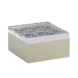 LEATHER HOME COLLECTION - IVORY JEWELRY BOX - FLORAL CARVED ACRYLIC LID
