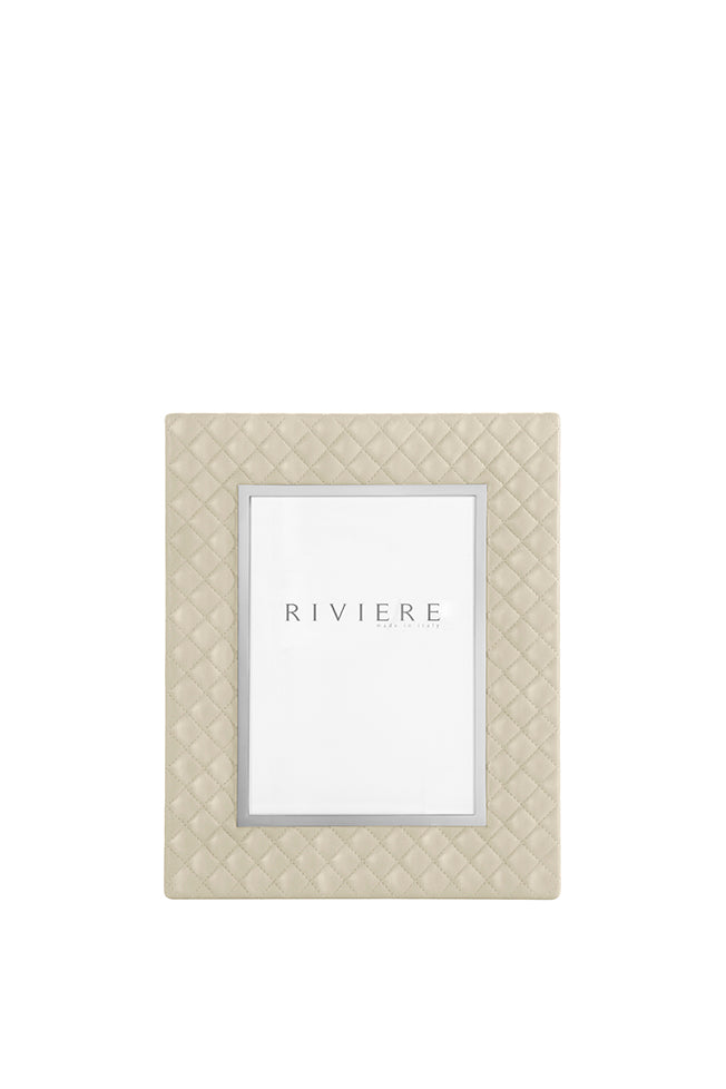RIVIERE I  IVORY QUILTED LEATHER FRAME WITH CHROME TRIM