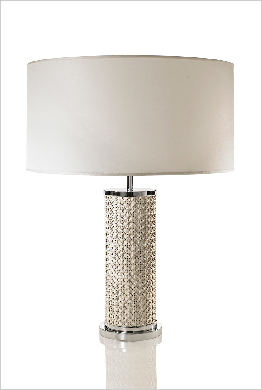 LEATHER HOME COLLECTION -IVORY ENAMELED CYLINDER LAMP