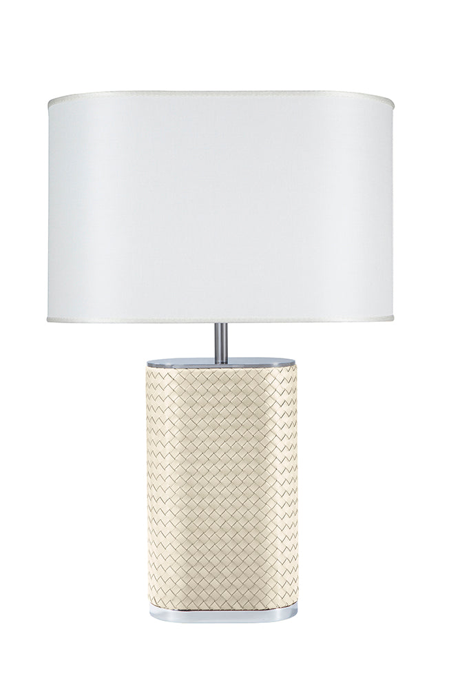 RIVIERE I IVORY OVAL LAMP WITH HANDWOVEN LEATHER