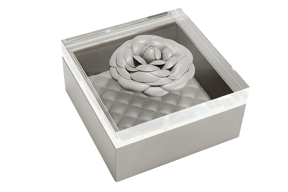 LEATHER HOME COLLECTION -GREY LEATHER BOX